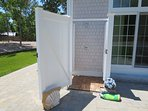 Enclosed outdoor shower with hot and cold water 5 White Cedar Lane -Orleans- Cape Cod New England Vacation Rentals