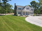 Large circular drive with beautiful lawn on the side that wraps around the back-5 White Cedar Lane -Orleans- Cape Cod...
