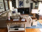 Open Living room with Flat Screen TV and WIFI - 51 Eliphamets Lane Chatham (Captains House) Cape Cod New England...