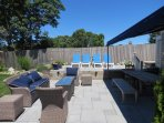 Sun deck, picnic table and gas fire pit...