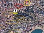 distancia a pie del apartamento al centro ciudad donde los principales monumentos y museos