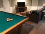 Newly added game room with Pool table and Xbox