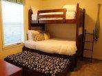 Trundle Bed under Bottom Bunk 3rd Bedroom