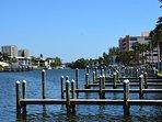 Boat docks behind condo