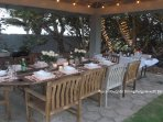 Dine under the gazebo, complete with lighting.