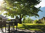 From the garden you enjoy a beautiful view over the mountain range of Schynige Platte.