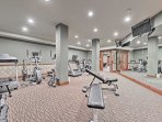 A great fitness center is available for you and your guests.