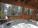 Hot tub, looking out onto the lake (filtered views)