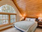 The apartment features a queen bed that sleeps two.