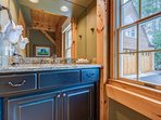 The first floor powder room is convenient for quick touch-ups.