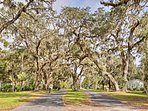 Live oaks covered in Spanish moss line the historic streets.