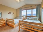 The Mountain room offers two comfortable queen beds and adjoining bathroom.
