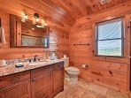 The second full bathroom also offers a walk-in shower.