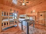 Tuck the kids into the 2 twin-over-full bunk beds in the fifth bedroom located in the basement.