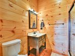 The third full bathroom provides a walk-in shower.