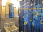 Bathroom sink and shower curtain