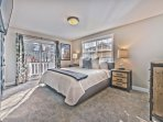 Lower Level Bedroom 2 with King Bed, Smart TV, Private Deck and Shared Jack-n-Jill Bath