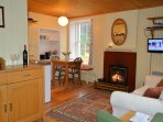 Warm and cosy interiors at Glenbranter Cottage