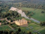 Longleat House and Safari Park, aerial view.
