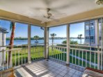 Lanai view of Little Sarasota Bay.  Sliders open with screens to allow for outdoor breezes