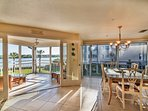 Lanai with the french doors open and the Dining area