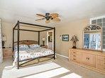 Bedroom #3 - MASTER bedroom - KING Bed, TV, Screened In balcony.  View of Little Sarasota Bay