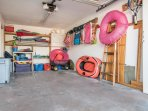 One Car garage with pull wagon, beach chairs, cooler and beach toys for your enjoyment of the beach