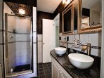 Bathroom has shower and double sinks. (2nd floor)