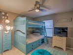 Kids will love sleeping in the full-over-full bunk bed.