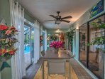 Tropical decor can be found throughout the home.