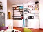 Bookshelves by Kitchen