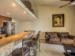For an afternoon indoors, have a seat on the plush couch in front of the flat-screen cable TV with Apple TV.