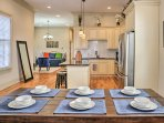 Try out your culinary creations at the 6-person dining room table.
