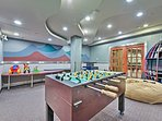 The game room will entertain kids all day long during rainy days.