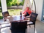 Relaxing on the terrace just 20 metres from the pool