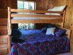 Wooden bunk bed w/full and twin beds and stairs to top bunk!