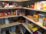 Pantry; contents for guest use