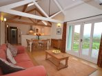 Open-plan living area with views over the stunning countryside