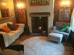 Lounge with log burning stove