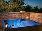 Hot tub in the evening time