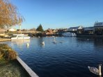 Wroxham Bridge from shared lawn area at the rear of Holkham Cottage