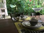 Dine al fresco in the downstairs apartment