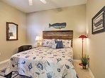 Additional guests will sleep soundly in this cozy queen bed.