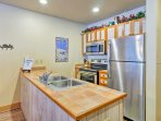 Serve appetizers from the ample counterspace featured in the kitchen.