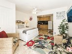 Hawaiian Decor Condo with Ceiling Fan and Large Flat Screen TV