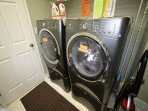 Laundry Room,  Large Washer; Dryer.  Laundry Detergent, Clorox , Downy, off Living room.