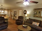 Living Room has a Sofa Sleeper and 2 Rocker Recliners, Flat Screen TV/VCR Player with Movies.