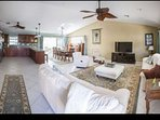 Open concept living room with two full size sleeper sofas for additional sleeping arrangements.