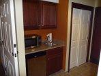 Fridge, sink, micro, dishes, cutlery, coffeemaker