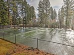 'The Villas at Lake Forest' feature communal tennis courts and a seasonal pool.